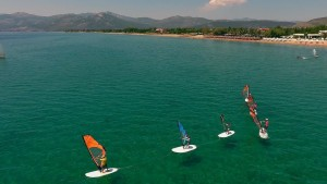 Windsurfing group on the water